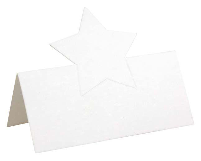 Tischkarte Platzkarte zum Selbstgestalten Stern weiß
