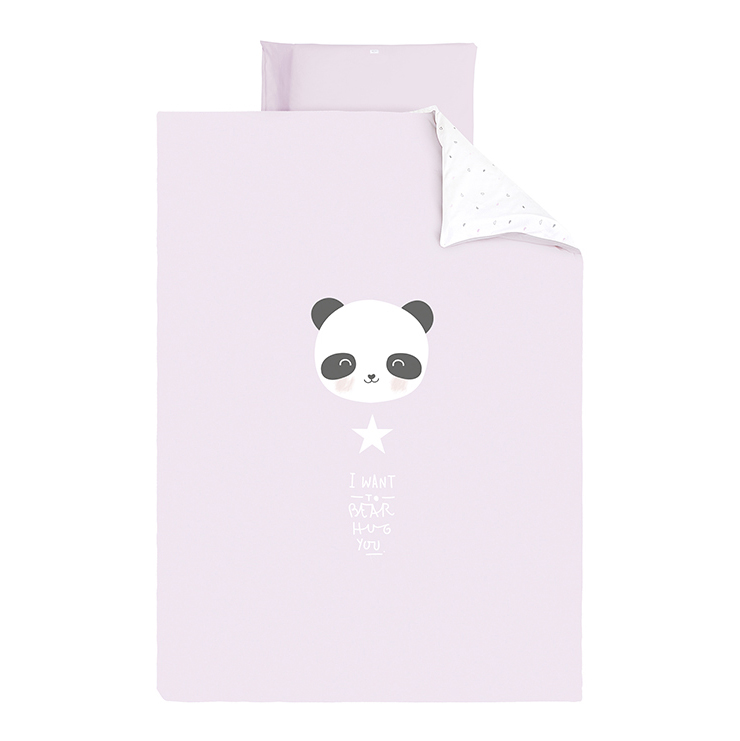 Bettwäsche Panda rosa Gr. 100x135 cm + 40x60 cm