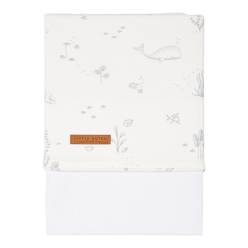 Babybettlaken Wiegenlaken Ocean weiß (Gr. 70x100 cm)