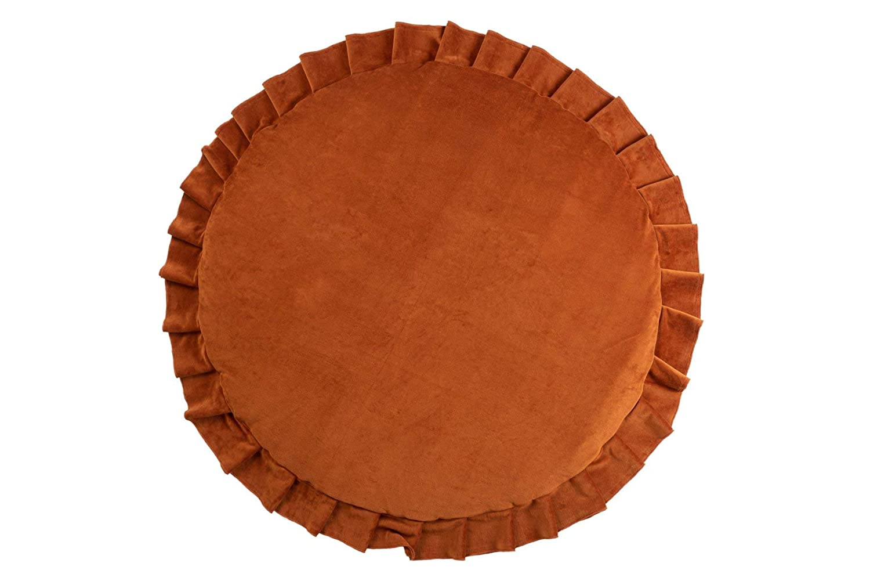 Samt Krabbeldecke Spielmatte mit Rüschen rund rostbraun ø110cm
