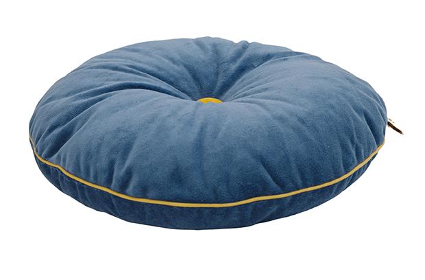 rundes Samt Kissen mit Knopf blau gelb ø35 cm