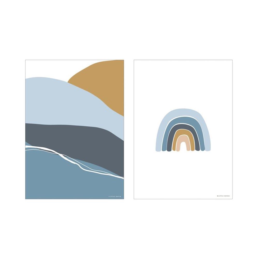 Poster A3 2 bedruckte Seiten Horizon blau