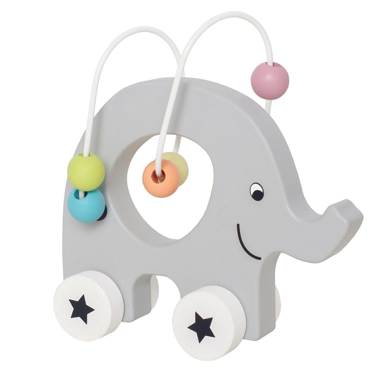 Holz Nachziehtier Elefant mit Perlen Spirale