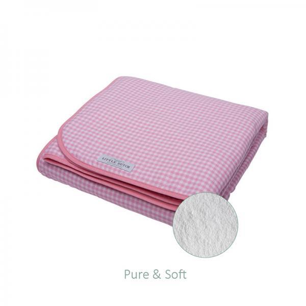 Babydecke mit Teddyfell kariert Small Checked rosa weiß 70x100 cm