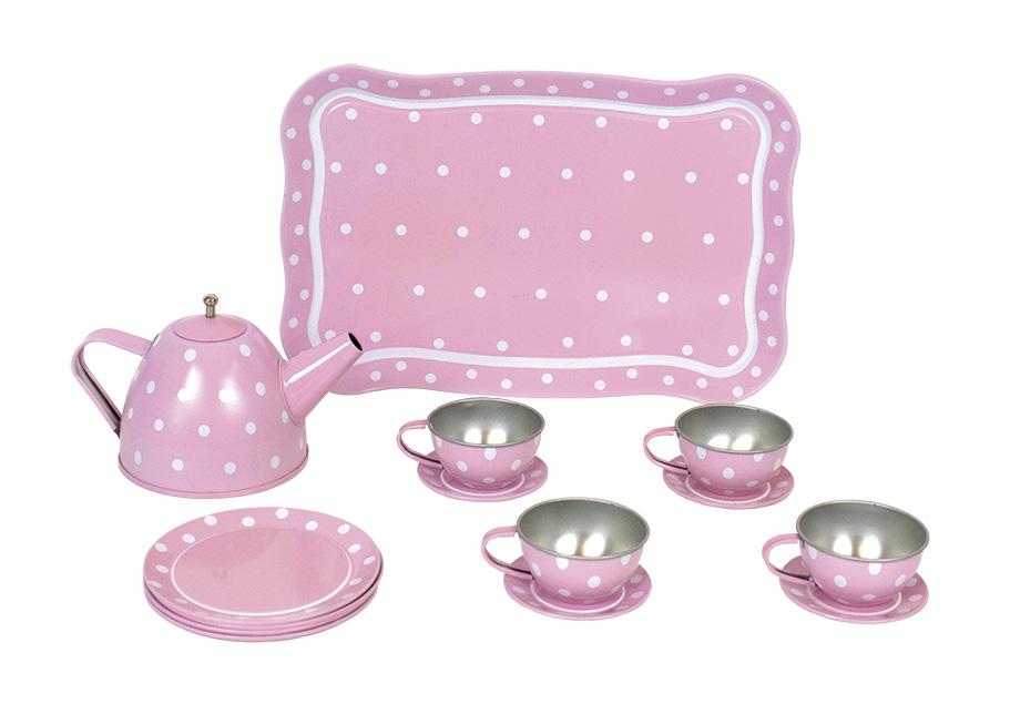 Tee Set aus Blech im Koffer 15 teilig rosa
