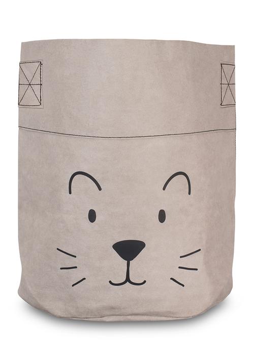 Korb / Kiste / Box zur Aufbewahrung XL Kleiner Löwe Papier schwarz grau