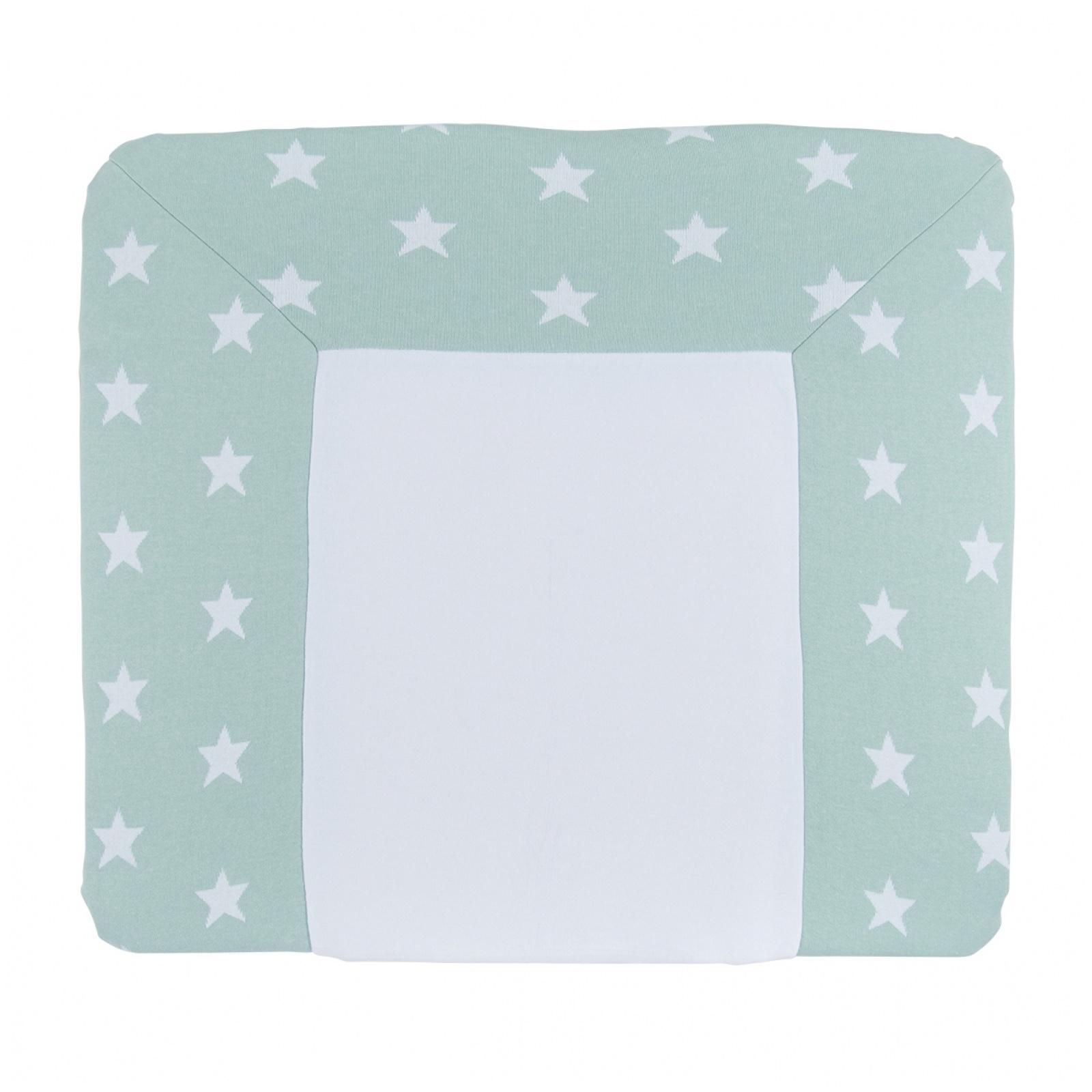 Wickelauflagenbezug Sterne mint / weiß (Gr. 75x85 cm)