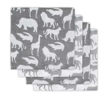 Mulltücher Safari grau 70x70 cm 4er Pack