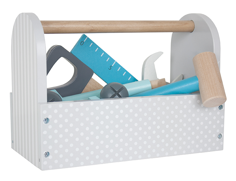 Holz Werkzeugkiste mit Zubehör Holz grau blau