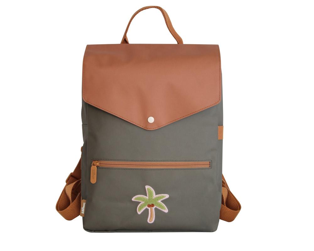 Rucksack für Kinder 8-12 Jahre Kokosnuss Palme graugrün braun 40x28x16 cm