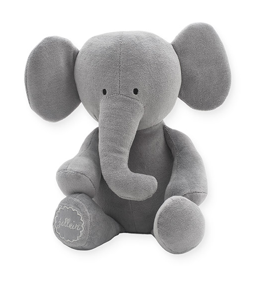 Jollein Stofftier Kuscheltier Elefant Samt grau