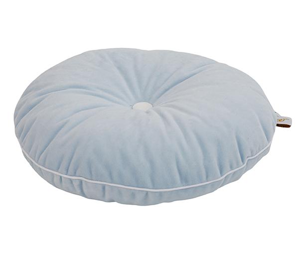 rundes Samt Kissen mit Knopf hellblau weiß ø35 cm