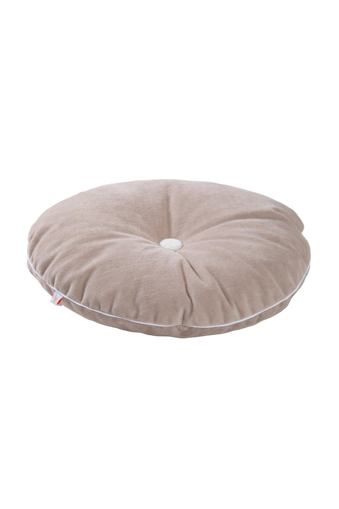 rundes Samt Kissen mit Knopf puderbeige weiß ø35 cm
