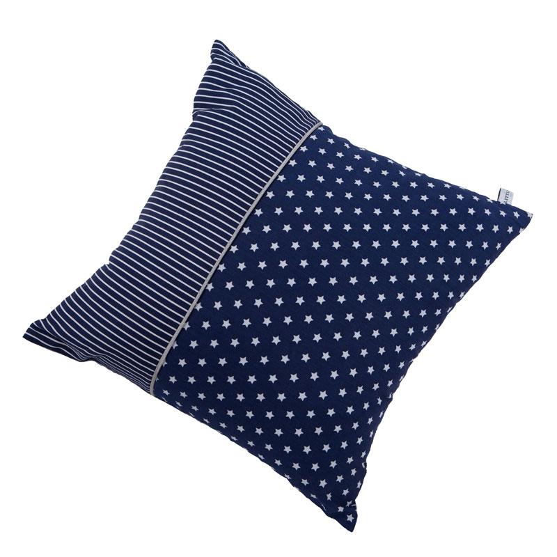 Kissen blau mit weißen Sternen & Streifen 40x40 cm