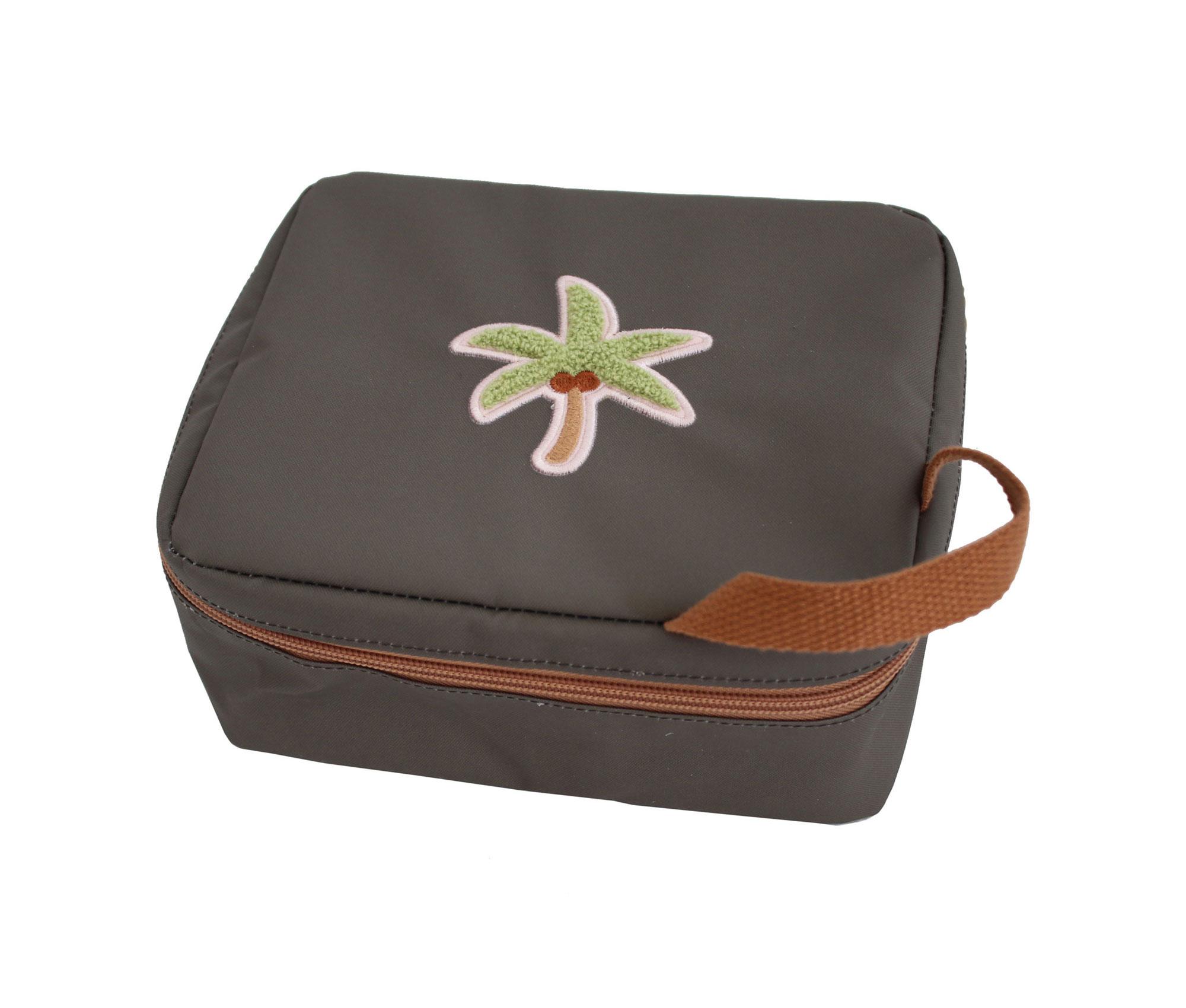 Isoliertasche Lunch Bag Mäppchen Tropical Palme graugrün 20,5x7x9 cm