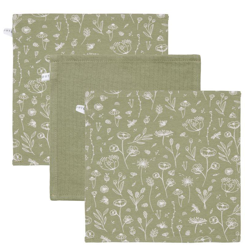 Spucktücher Mundtücher 3er Set Wild Flowers olive (Gr. 26x26 cm)