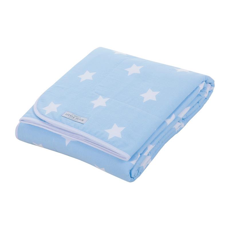 Babydecke Sterne hellblau weiß 70x100 cm