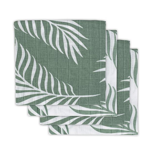 Mulltücher 4er Set Nature Blätter grün (70x70 cm)