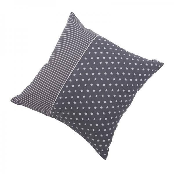 Kissen grau mit weißen Sternen & Streifen 40x40 cm