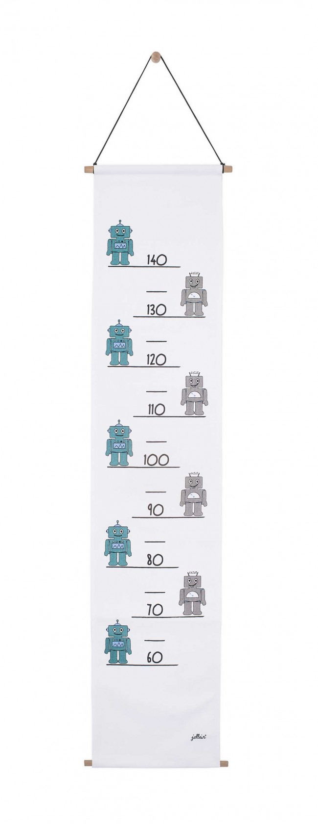 Jollein Messlatte Stoff Roboter türkis 70 - 140 cm
