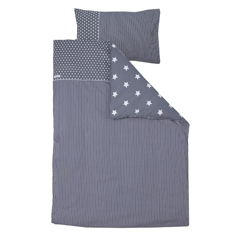 Kinderbettwäsche grau mit weißen Sternen 100x140 cm + 40x60 cm