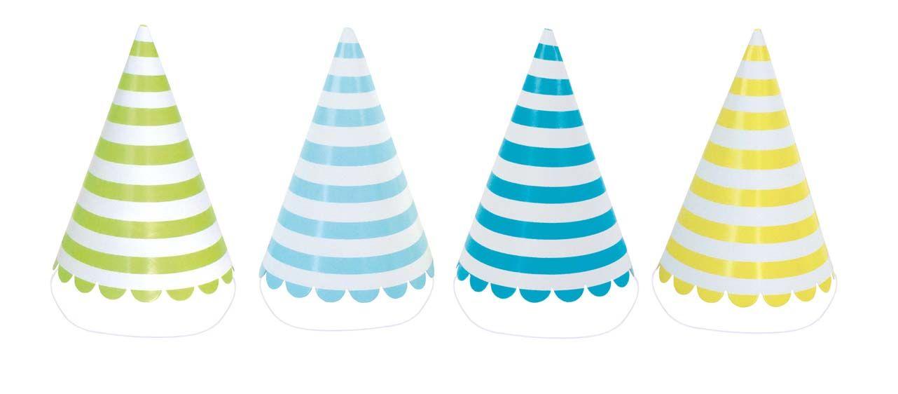 Papphüte Partyhüte mit Streifen grün blau gelb 8er Set