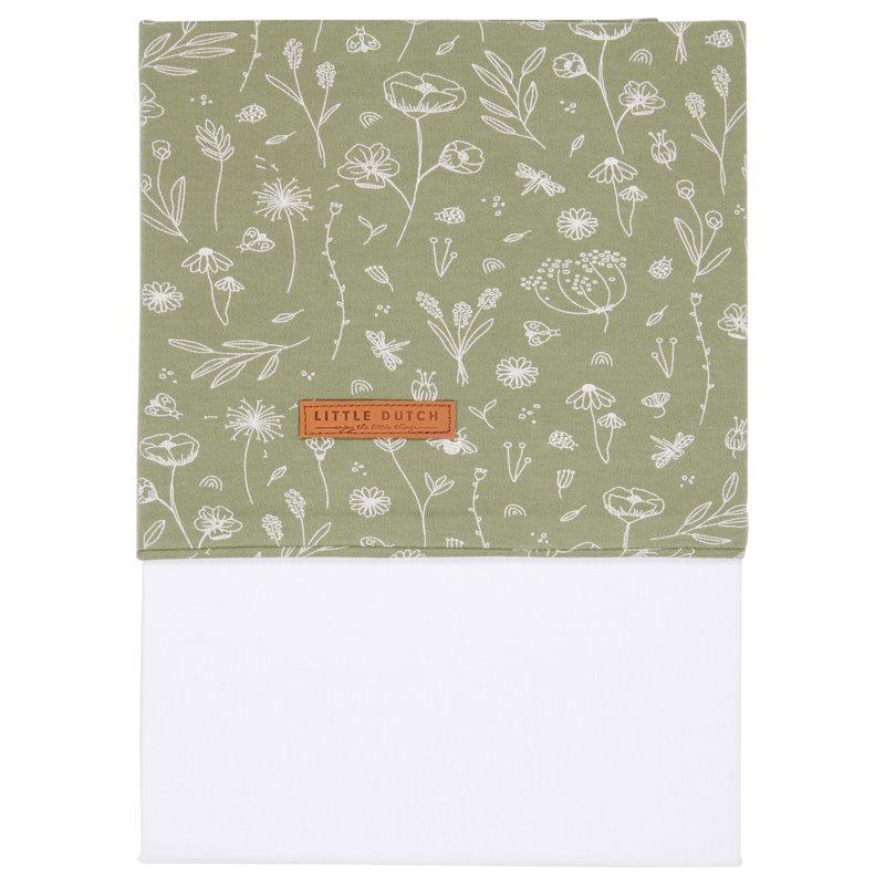 Kinderbettlaken Wild Flowers Olive (Gr. 110x140 cm)