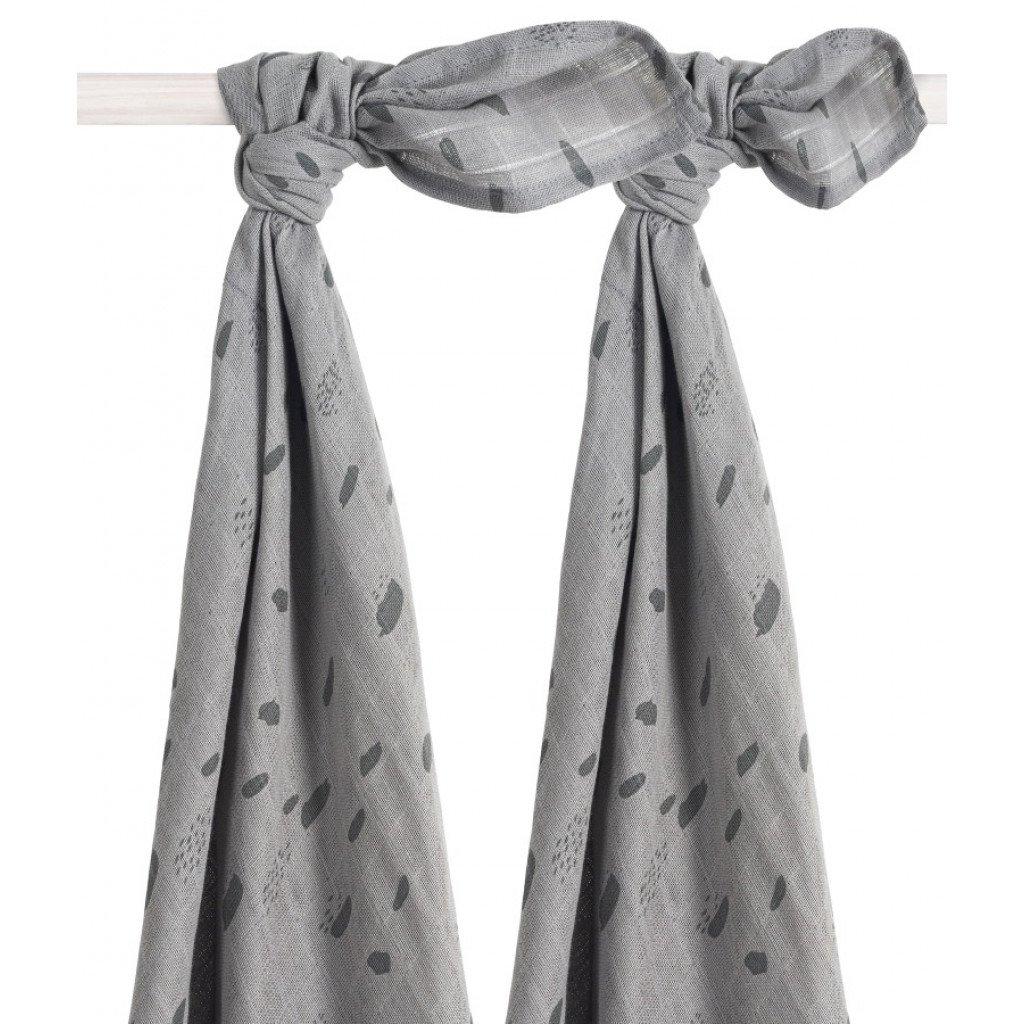 Mulltücher Swaddle 2er Set Spot Tupfen grau (115x115 cm)