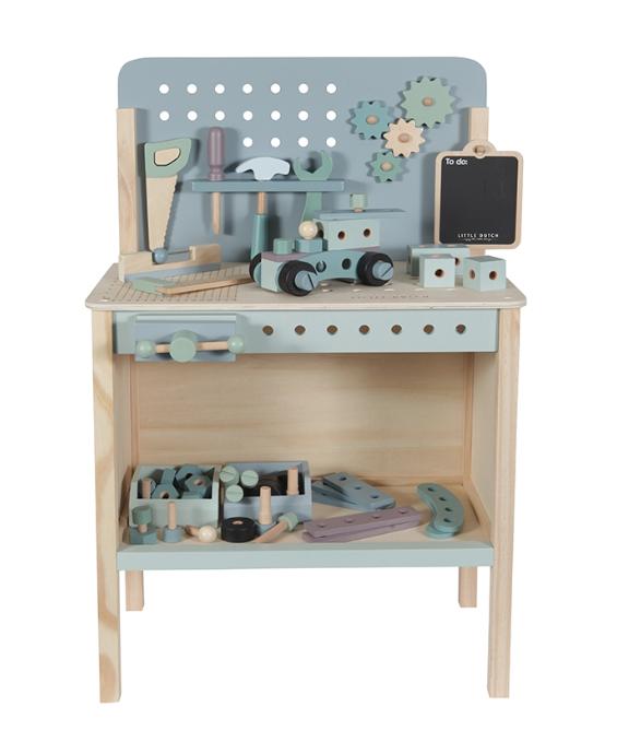 Holz Spielwerkbank mit Werkzeuggürtel und Zubehör blau mint
