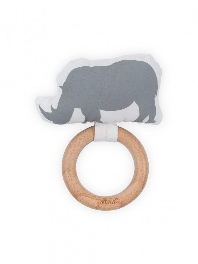 Beißring Holz Safari Nashorn grau