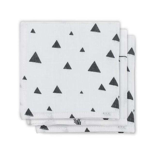Musselin Spucktücher Indians schwarz weiß 3er Pack 31x31 cm