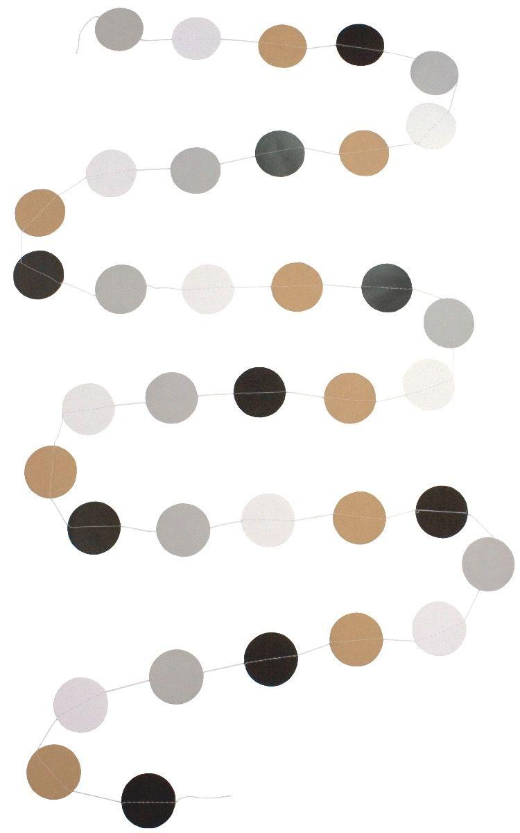 Girlande Papier natur schwarz weiß grau