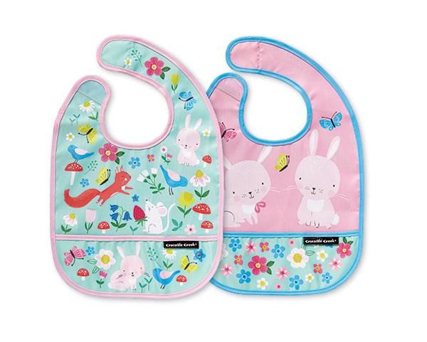 Lätzchen Gartentiere rosa türkis 2er Set mit Reisetäschchen