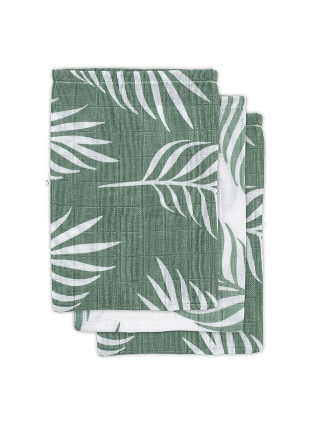 Jollein Waschlappen Nature Blätter grün 3er Set