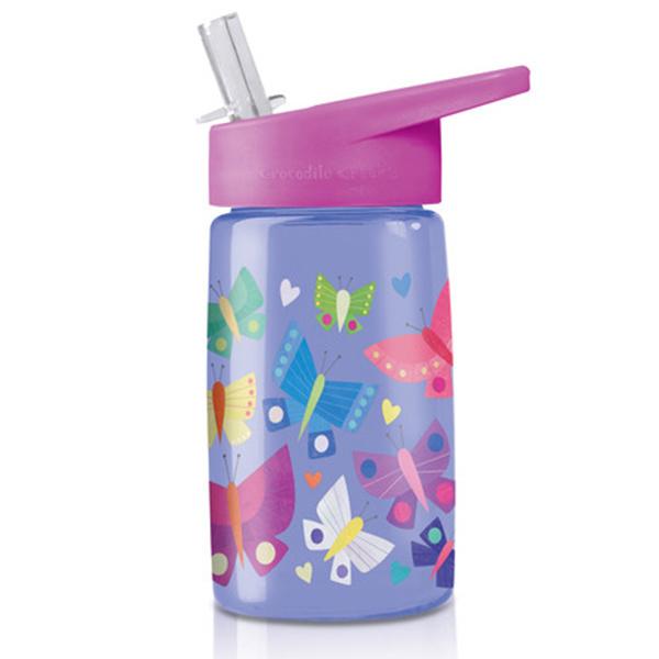 Trinkflasche aus Tritan mit Strohhalm Schmetterlinge lila