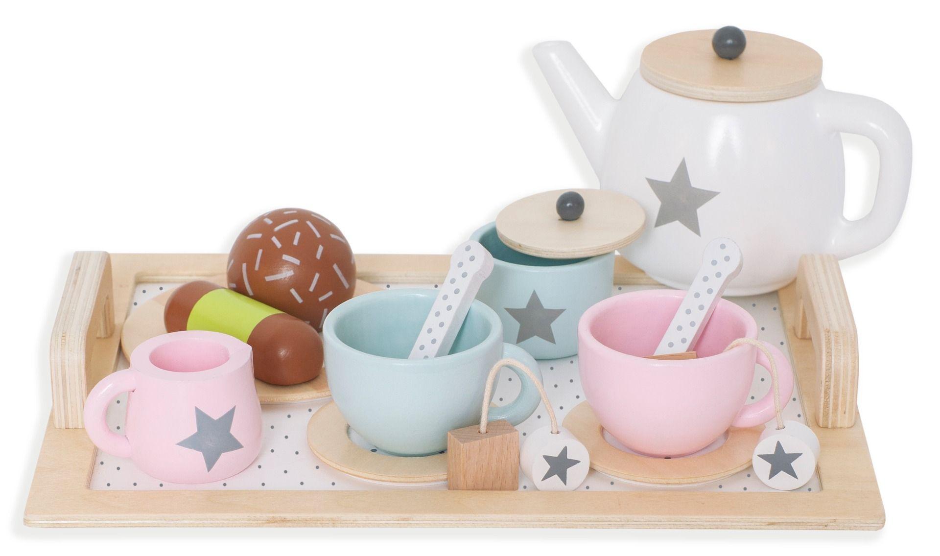 Holz Tee Set mit viel Zubehör