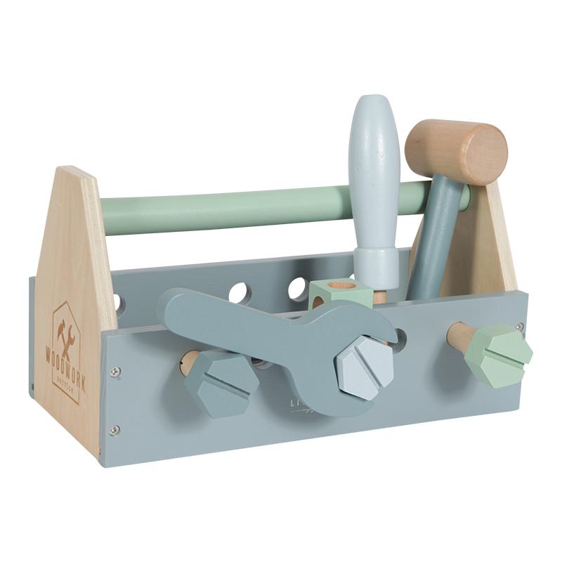 Werkzeugkiste Holz mint blau