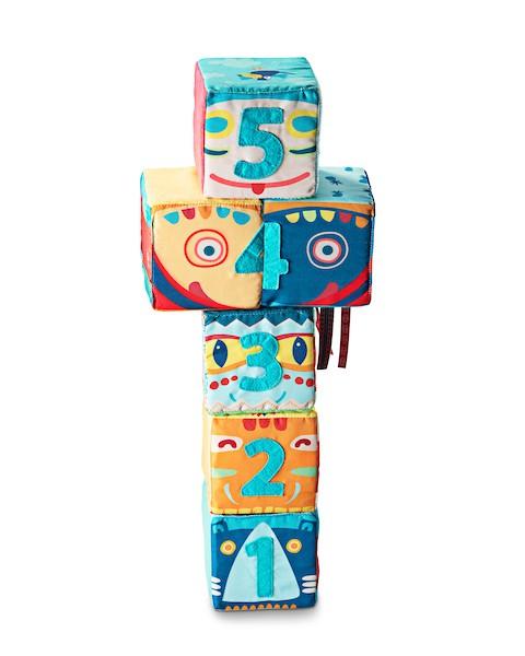 6 bunte Stoff Spielwürfel mit Zahlen