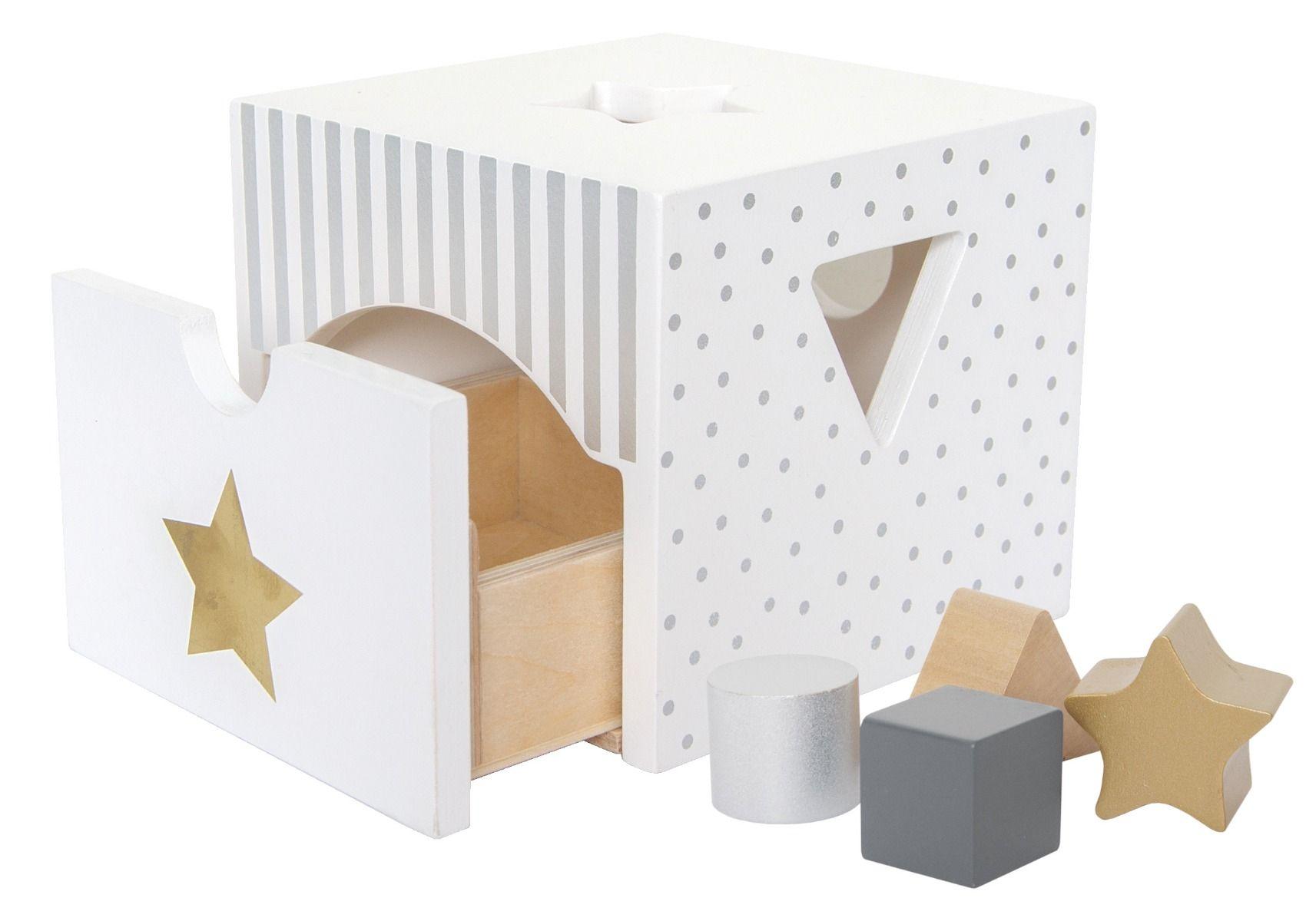 Holz Steckspiel Sortierbox weiß silber gold