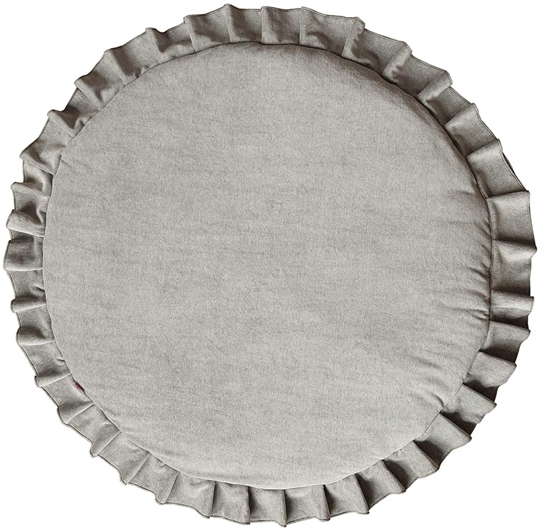 Samt Krabbeldecke Spielmatte mit Rüschen rund grau ø110cm
