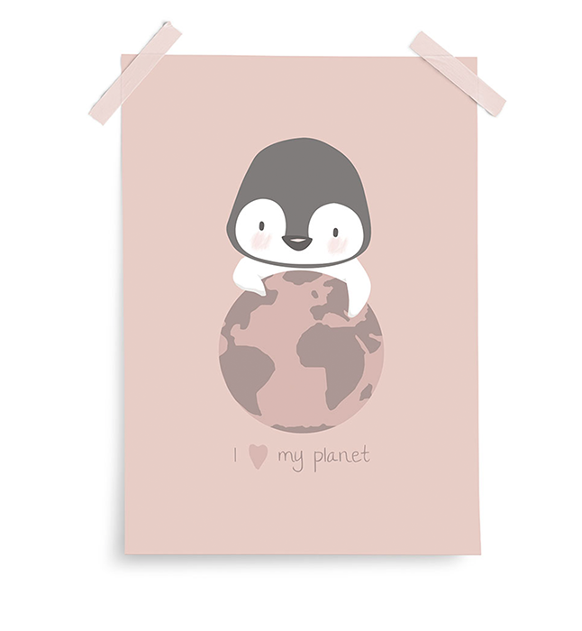 Poster My Planet Pinguin rosa 30x40 cm