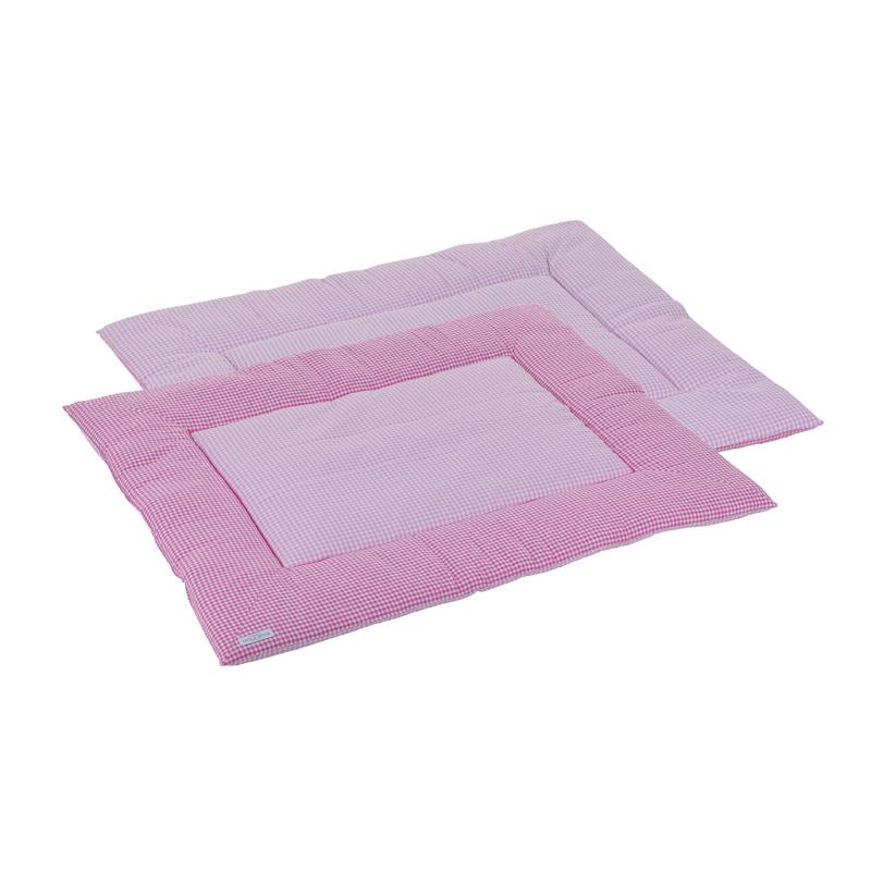 Laufgittereinlage Krabbeldecke rosa weiß kariert 80x100 cm