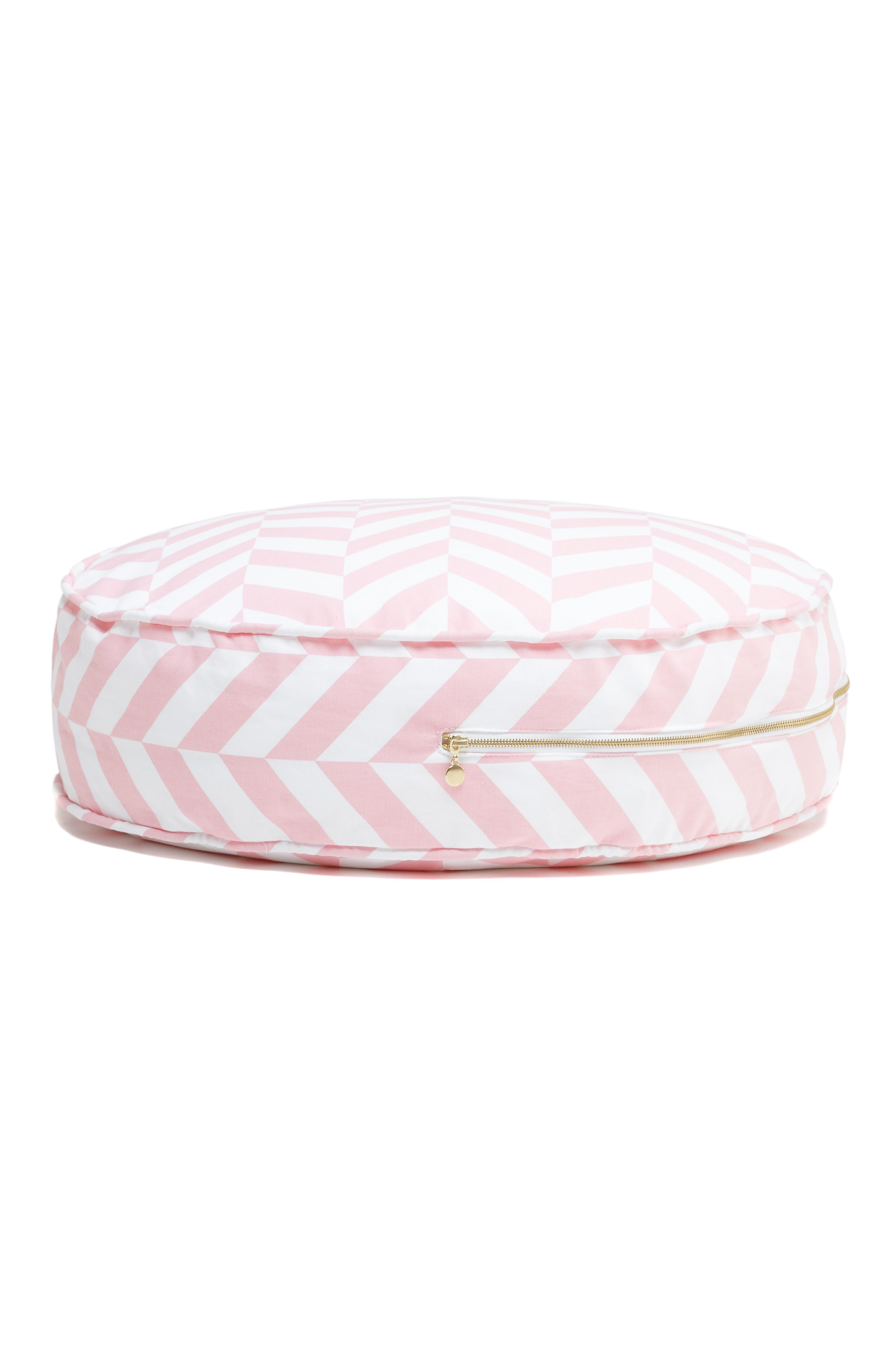 rundes Sitzkissen Ottomane Zickzack rosa weiß