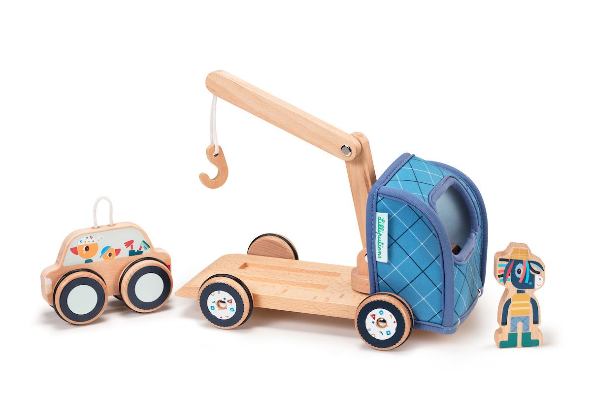 Abschleppwagen mit Kran aus Holz & Neopren Kran Ignace Esel