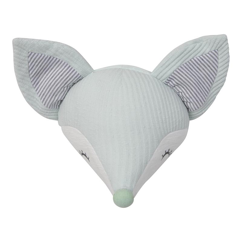 Foxy Fox Fuchs Kopf Wanddekoration mint grau Streifen