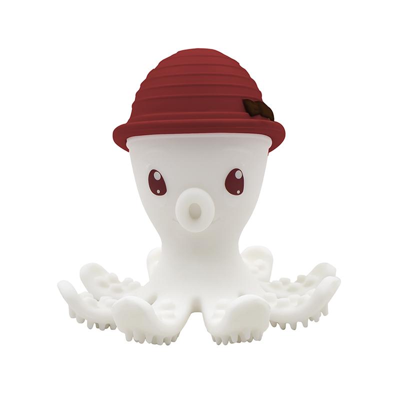 Beißring Silikon Oktopus kaminrot