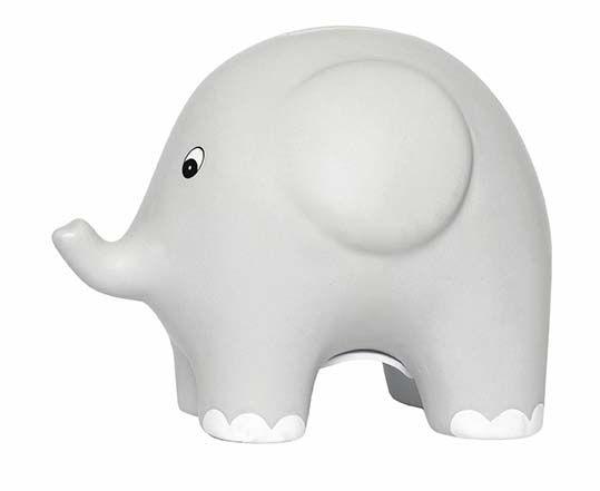 Spardose Keramik Elefant grau