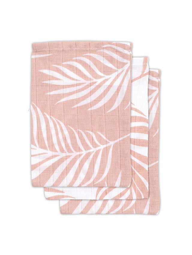 Jollein Waschlappen Nature Blätter rosa 3er Set