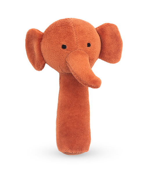 Jollein Greifling Rassel Elefant Samt rostrot orange