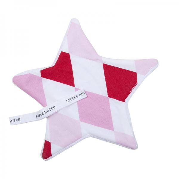 Schnullertuch Stern Rauten rosa rot